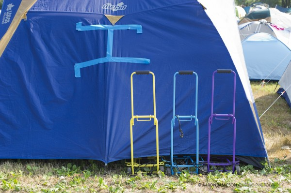 Colour coordinated camping trolly's - of course.